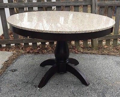 Granite Top Pedestal 4\' Diameter Round Table Dark Wood Apron and ...