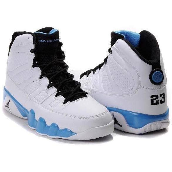 best loved a8416 abf89 Air Jordan 9 Retro Sneakers White Baby-Blue Black -  Fashions-R-Us-Free-Worldwide-Shipping