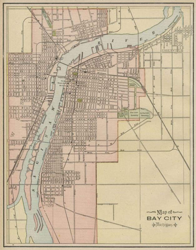 Bay City Michigan Street Map Authentic 1887 Stations Landmarks More Bay City Michigan Bay City Map Print