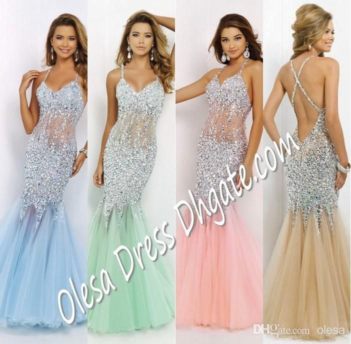 Wholesale Long Prom Dresses - Buy 2015 Blush 9702 Crystal Beaded ...