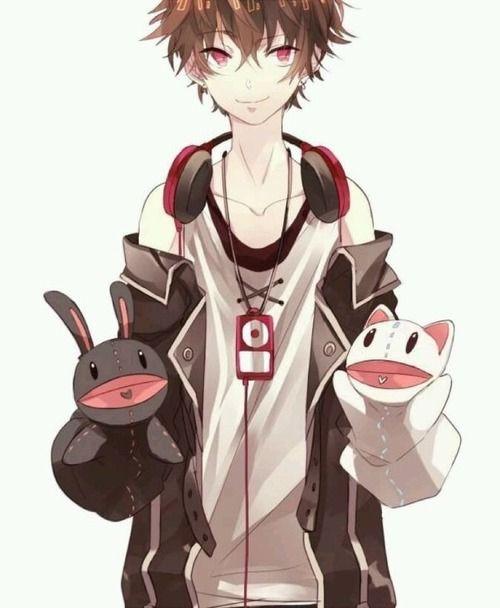 Anime Boy Brown Hair Red Eyes Headphones Puppet Anime Characters Anime Manga Anime