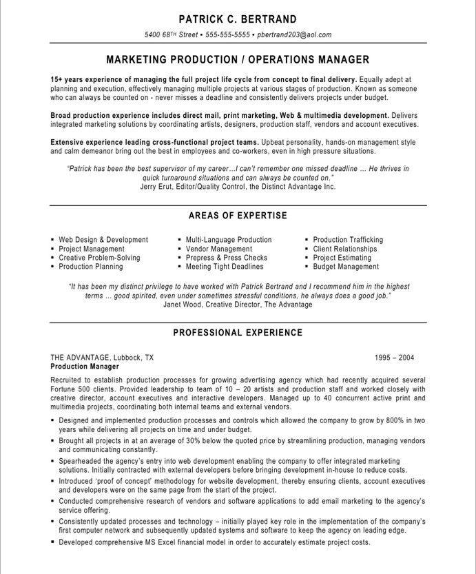 Marketing Production Manager Marketing Resume Project Manager Resume Free Resume Samples