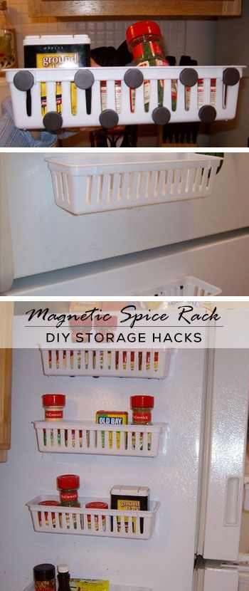 32 diy storage ideas for small spaces magnetic spice racks diy storage and small apartments. Black Bedroom Furniture Sets. Home Design Ideas