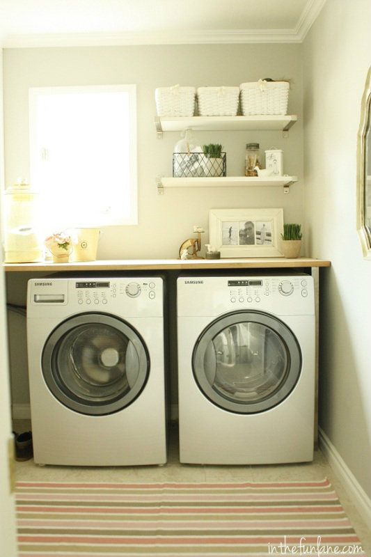 More Tiny Laundry Ideas A Rug Is A Smart Way To Add A Pop Of