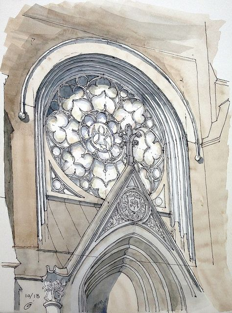 Ink & watercolor freehand sketch of the rose window,  Old First Reformed Church on 7th Avenue in Park Slope, Brooklyn.  by James Anzalone