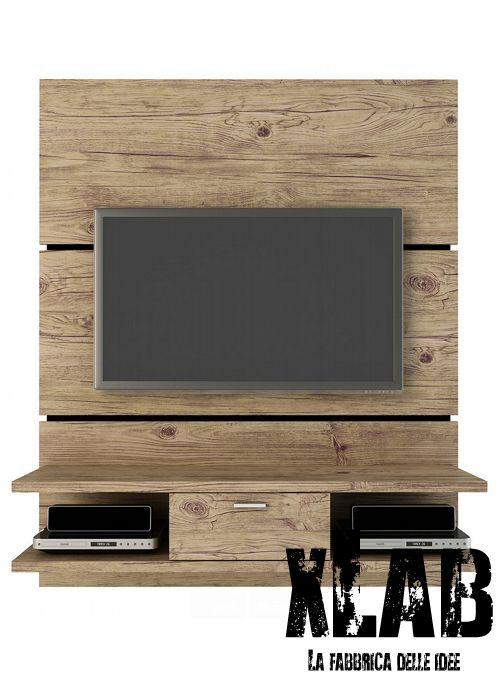 Porta Tv Parete.Mobile Porta Tv Da Parete Costruito In Legno Massello Di