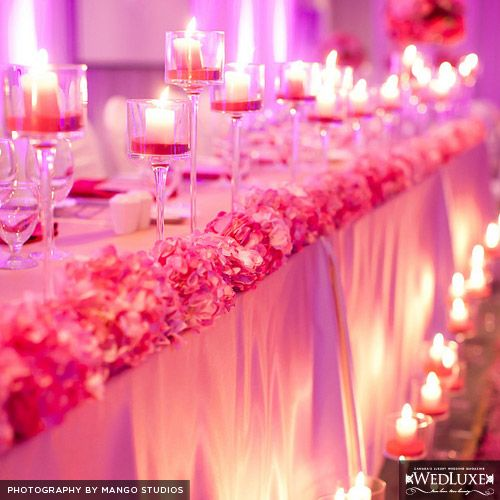 9 Times Pink Won Wedding Details Khush Mag: Flowers On Edge Of Sweetheart Table