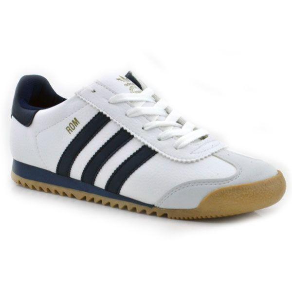 Adidas Rom Deri Beyaz Lacivert | Vetements