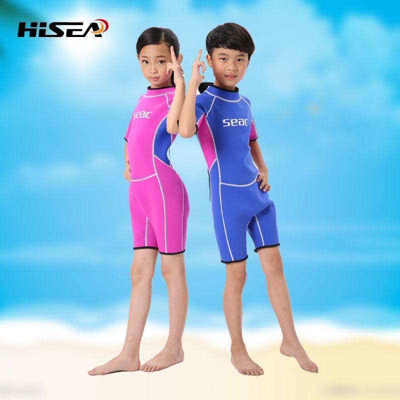 New 2.5MM Short Sleeves Neoprene Wetsuits Boys Girls Surfing Children Rash  Guards Snorkel Kids One-Piece Swimwears Diving Suits aa42f9e9b