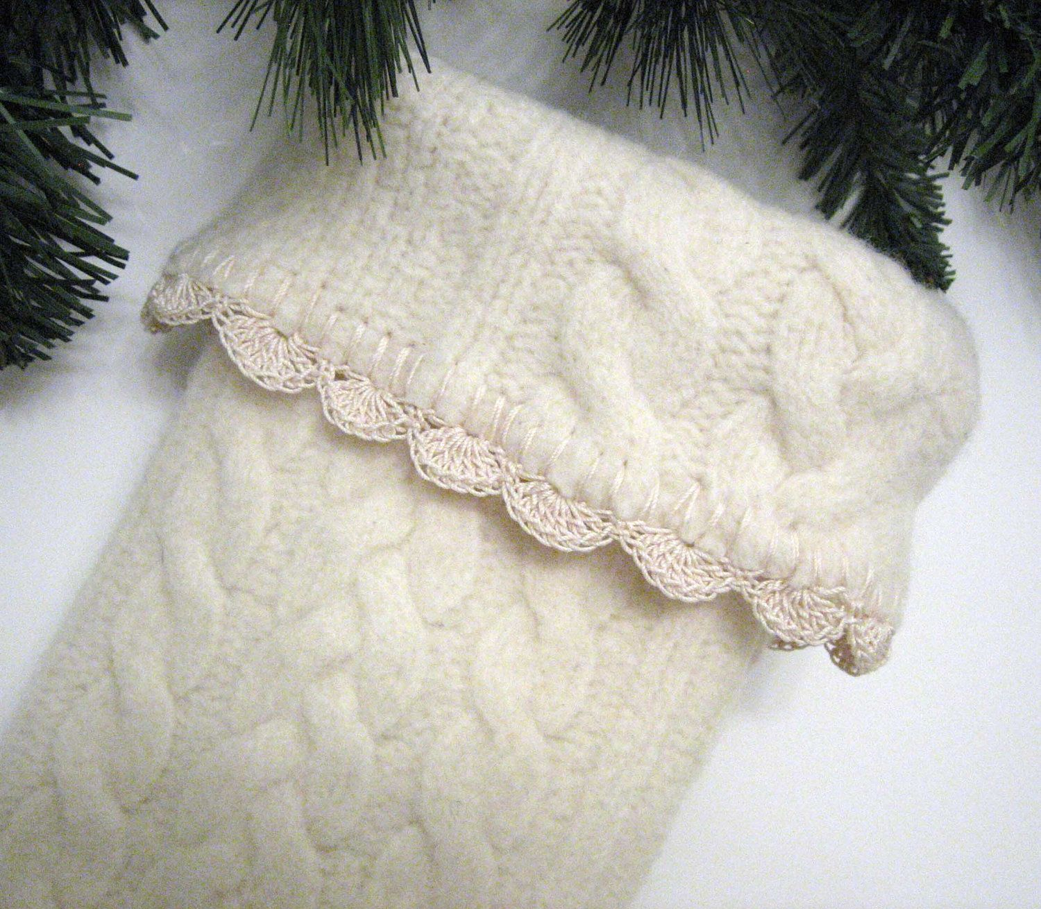 Knitted wedding decorations  Winter White Cable Knit Christmas Stocking Handmade from Felted Wool
