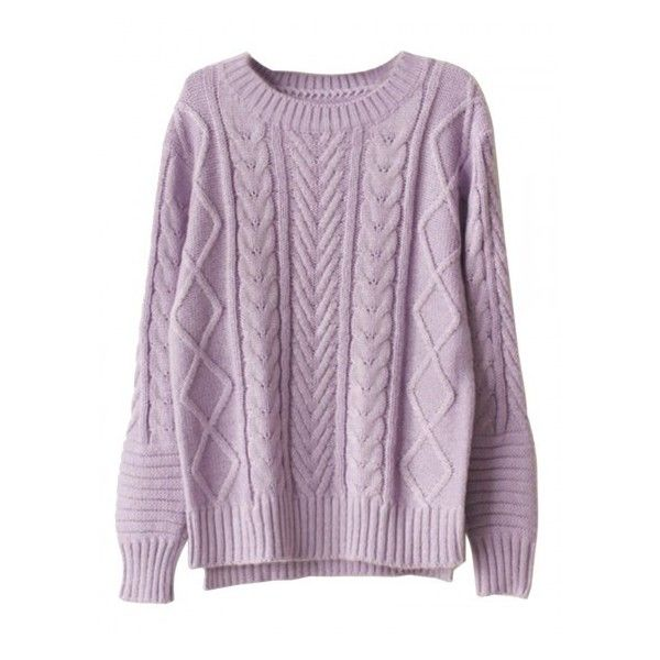 Choies Purple High-low Cable Sweater ($30) ❤ liked on Polyvore ...
