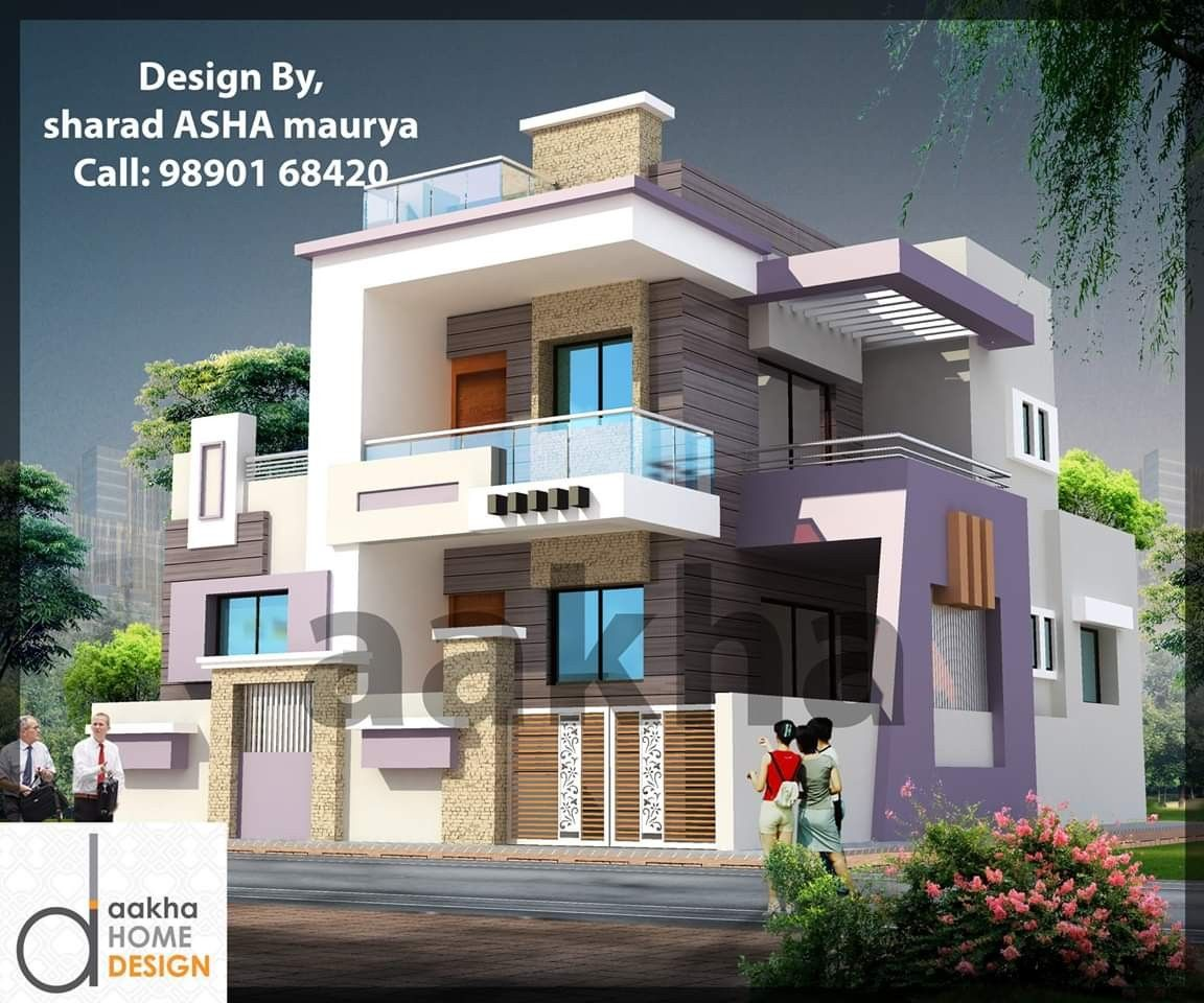 Pin By Dwarkadhish Co On Elevation 4 Front Building Design Duplex House Design New Model House
