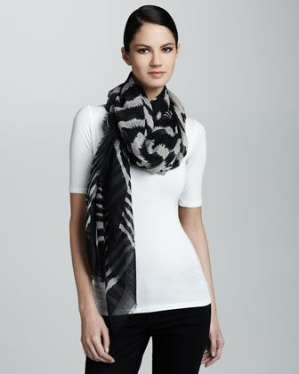 Zebra+Graphic+Oversize+Scarf,+Black/Beige+by+Gucci+at+Bergdorf+Goodman.