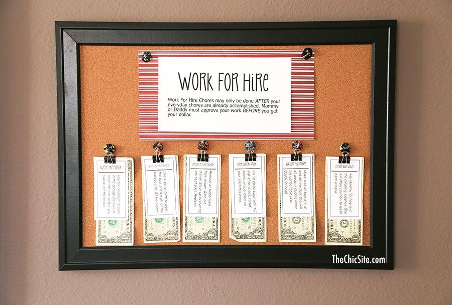 Work For Hire Chores Work for hire, Chores for kids