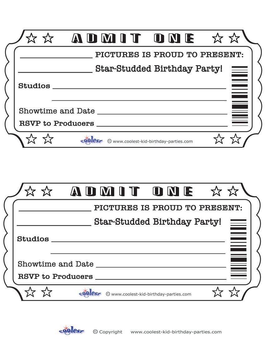 Printable Admit One Invitations Movie Ticket Invitations Movie