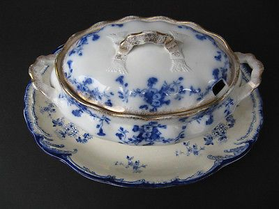 Beautiful Flow Blue Soup Tureen and Charger