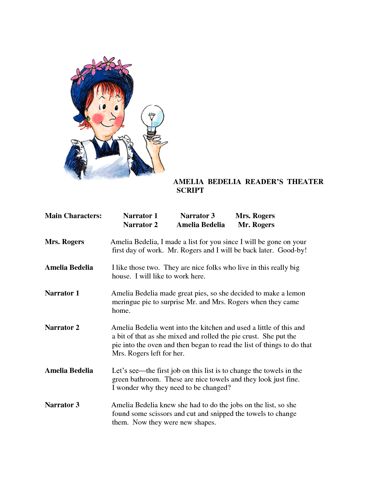 worksheets ameleia bedelia | Amelia Bedelia reader\'s theater ...