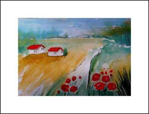Aquarelle Landschaften Landschaft Mit Mohnblumen Blau Grun Rot Gelb Haus Mohnblumen Bild Kunst Malen Aquarelle Landschaften Aquarell Aquarellbilder