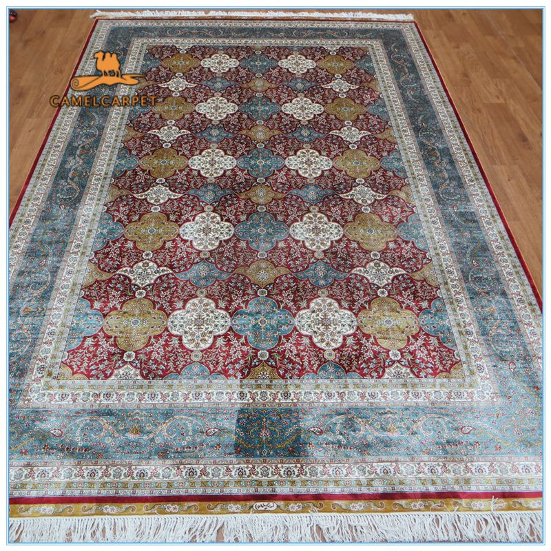Free Shipping 6x9 Foot 183x274 Cm Red Blue White Yellow Area Handmade Kashmir Silk Rugs Carpets