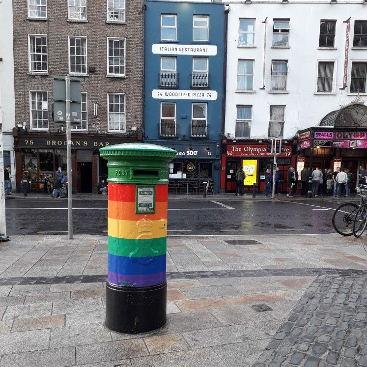 This post box outside Dublin castle was the first post box