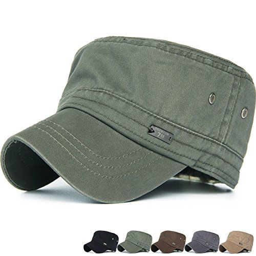 04a03e0ba3a Rayna Fashion Unisex Adult Cadet Caps Military Hats Vented Eyelets Stripe  Military Hats