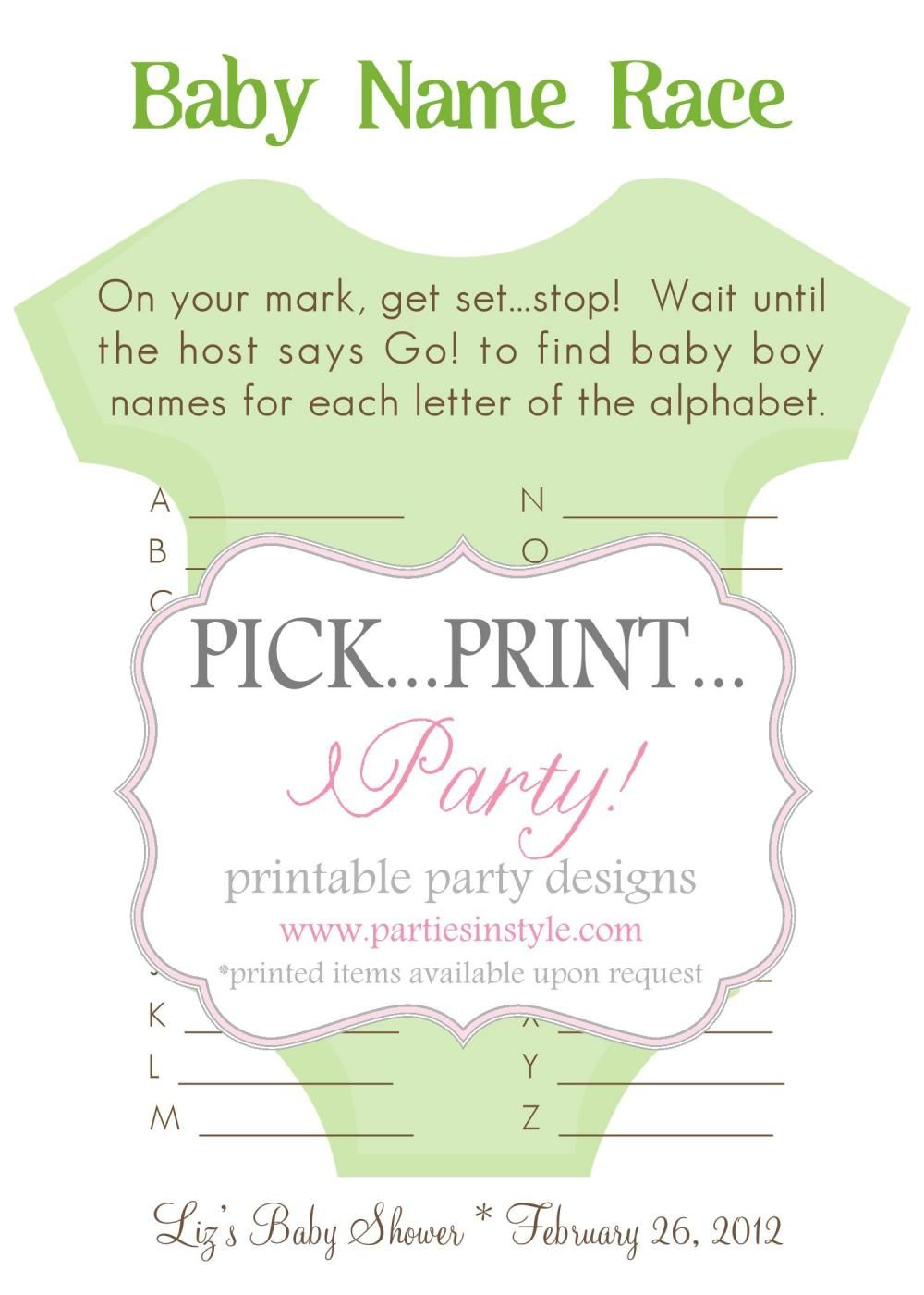 Baby Shower Game   Baby Name Race