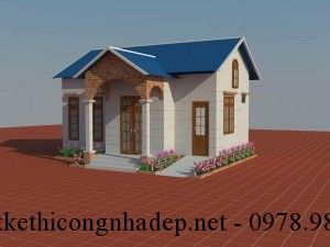 Mẫu thiết kế nhà cấp 4 mái tôn đơn giản đẹp 150 triệu 6x8m