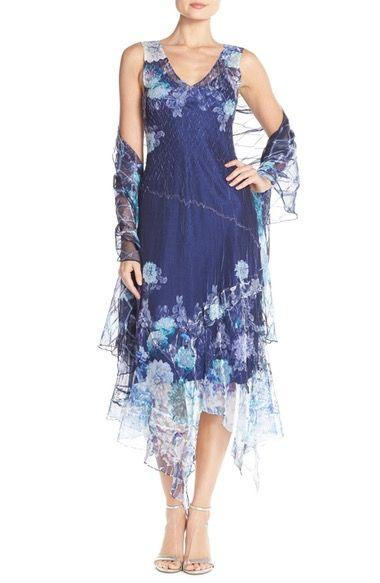 Komarov Floral Chiffon A-Line Dress & Shawl (Regular ... - photo #20