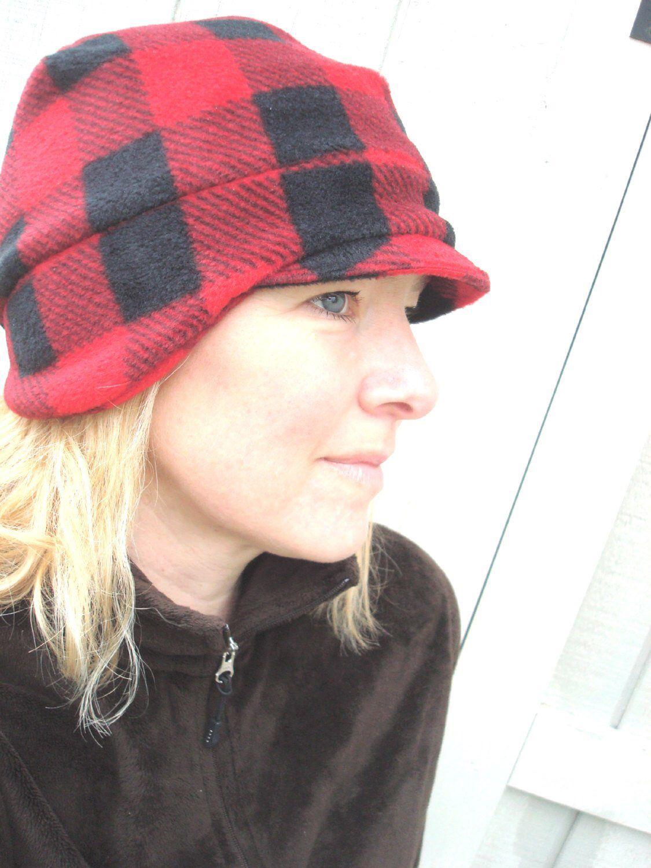 Womens Plaid Fleece Hat f807e28e80