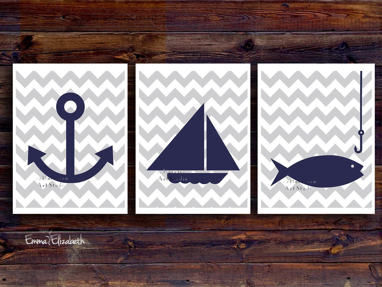 Children art print Nautical nursery Baby boys room decor ...