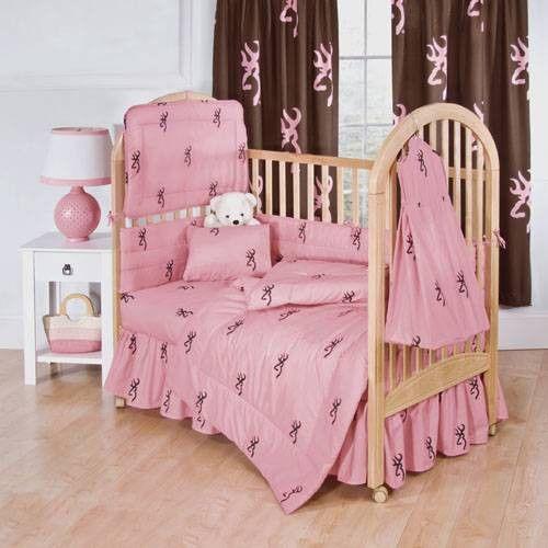 Beautiful Browning Buckmark Girls Pink 6PC Baby Crib Bedding Set + Diaper Stacker U0026  More #Browning