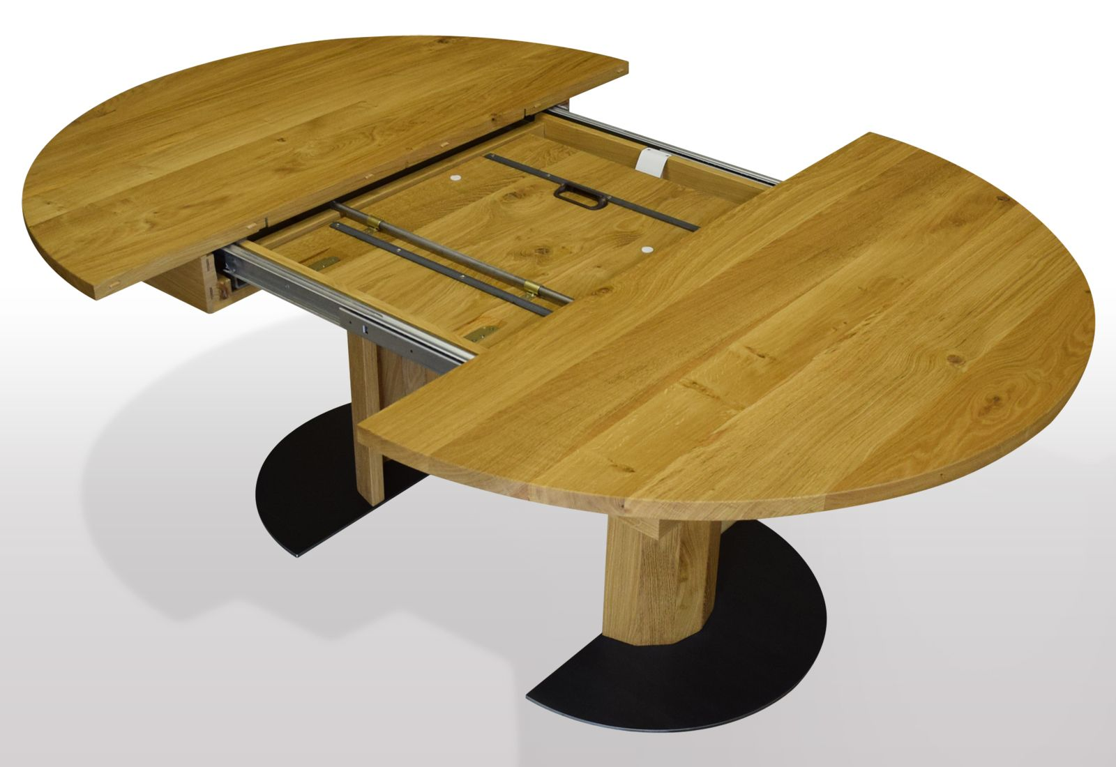 runde esstische nach mass us massiver eiche ausziehbar per. Black Bedroom Furniture Sets. Home Design Ideas