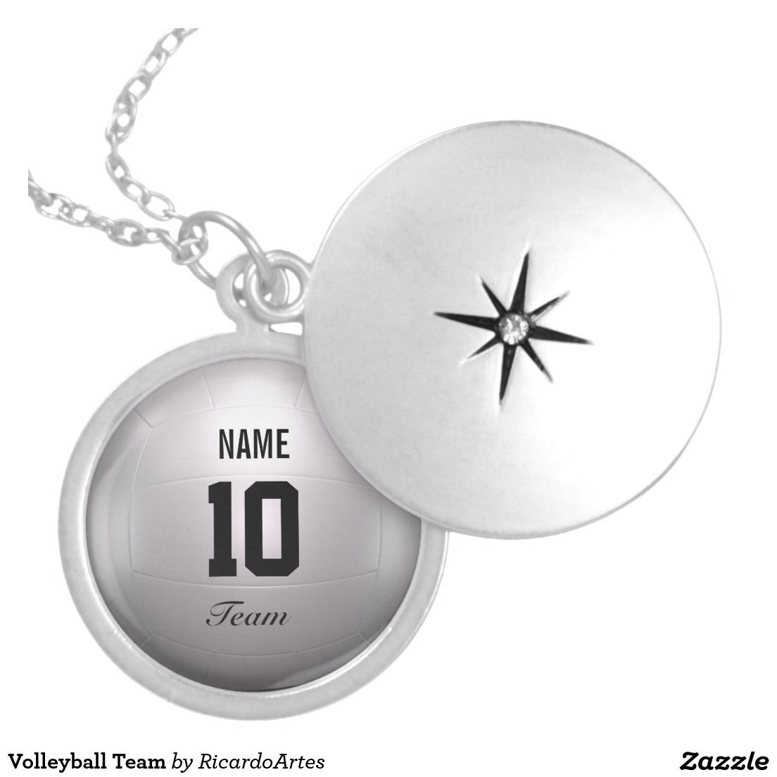 Volleyball Team Silver Plated Necklace Zazzle Com Locket Necklace Silver Lockets Personalized Necklace