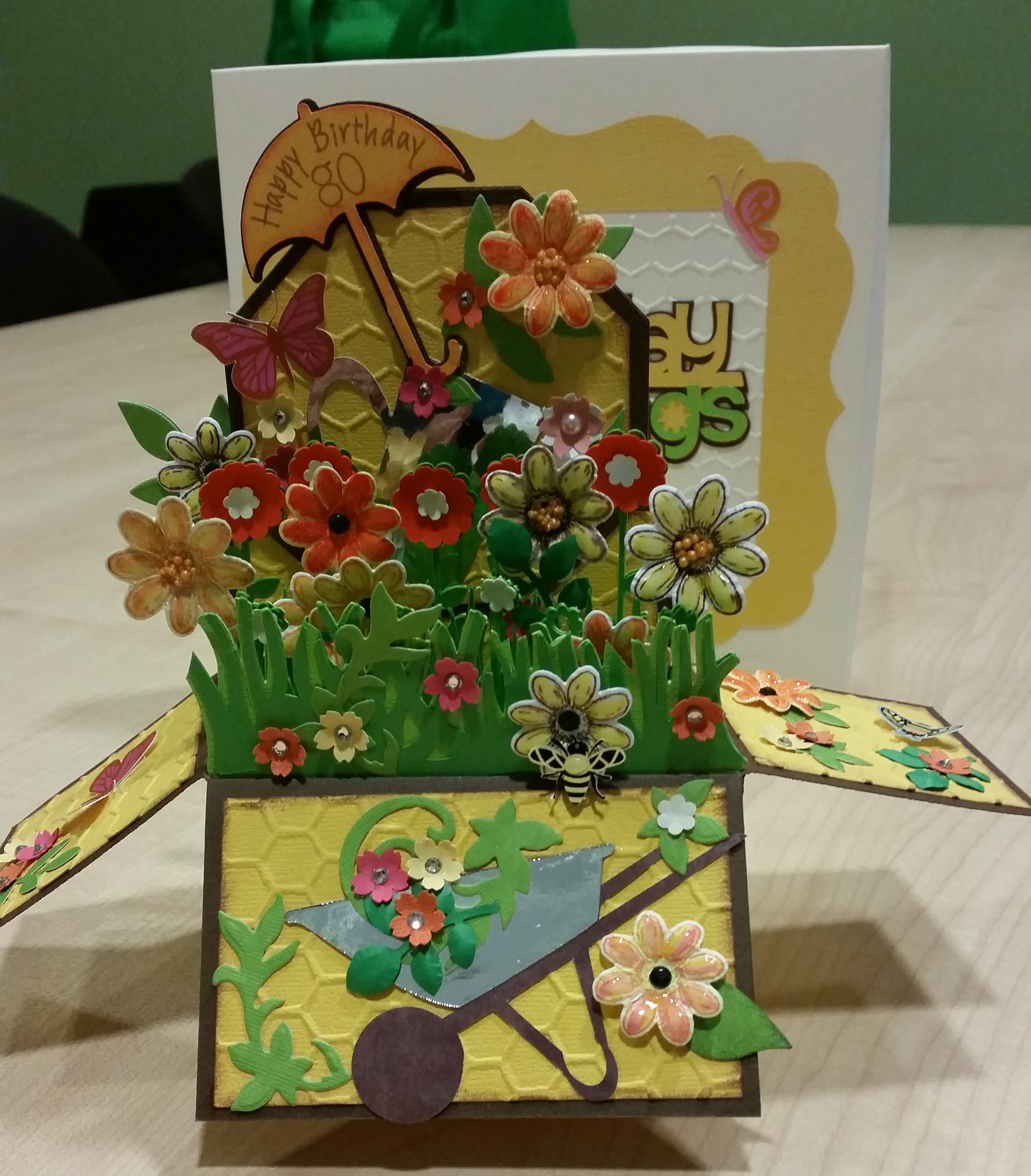 80th birthday box card made using cricut images and