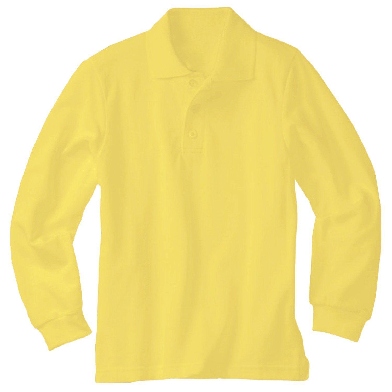 Genuine School Uniform Boys Girls Yellow Long Sleeve Pique Polo ...