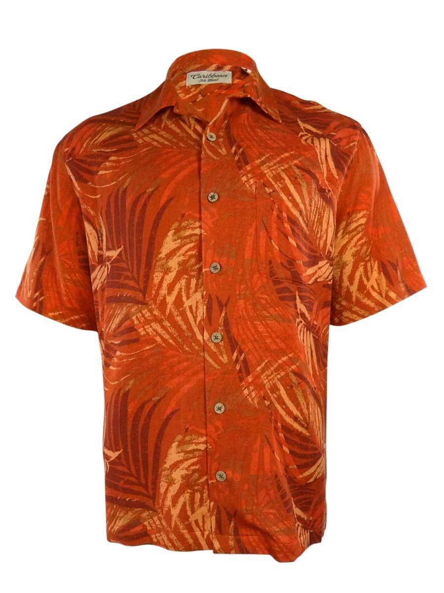 Caribbean Men's Silk Blend Leaf Pattern Shirt