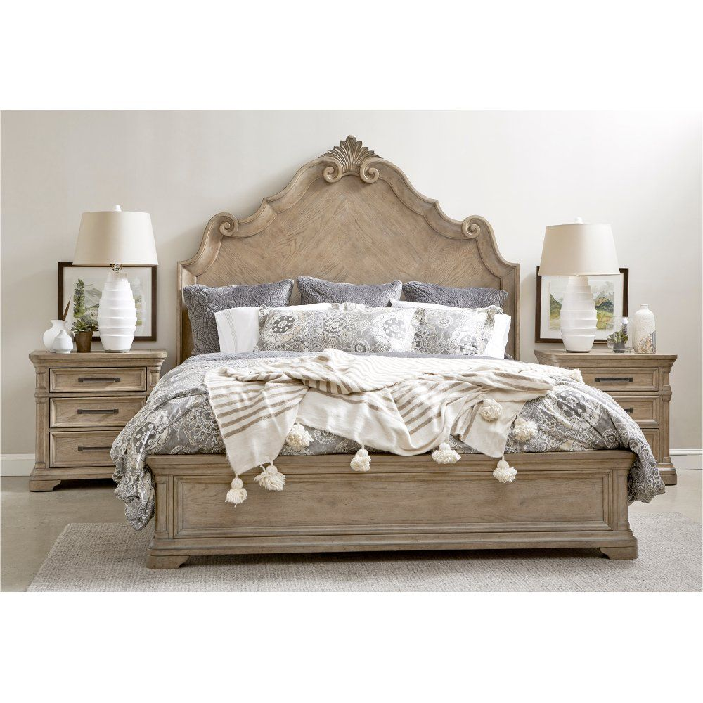 Traditional Natural 4 Piece California King Bedroom Set Monterey
