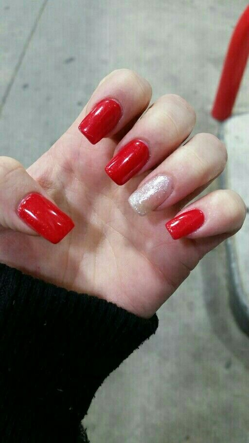 Red and silver shellac on acrylic nails. | Nails, Acrylic ...
