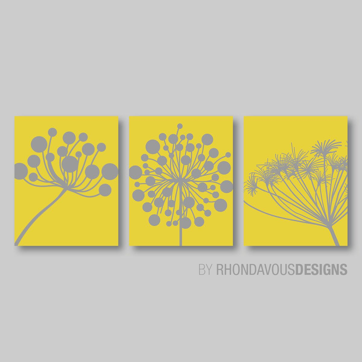 Abstract Modern Dandelions Print Trio - Yellow and Gray Dandelion. Nursery. Home Decor. Wall Art. Room. Living - You Pick the Size (NS-340) by RhondavousDesigns2 on Etsy https://www.etsy.com/listing/190724709/abstract-modern-dandelions-print-trio