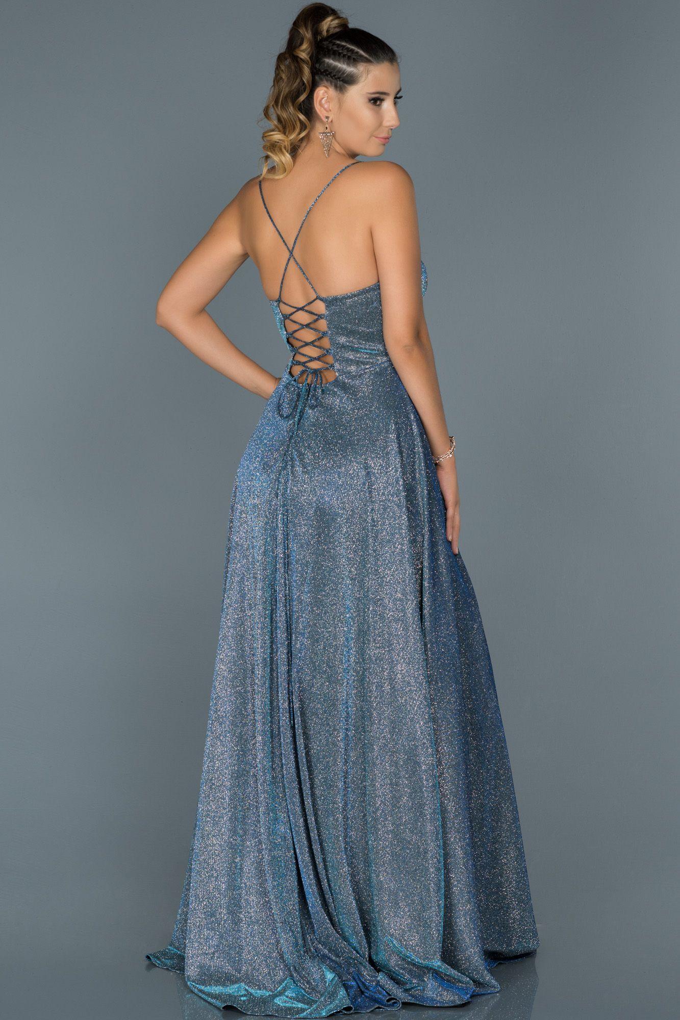 Saks Mavi Sirt Dekolteli Uzun Simli Abiye Abu451 Elbise Modelleri Elbiseler Resmi Elbise