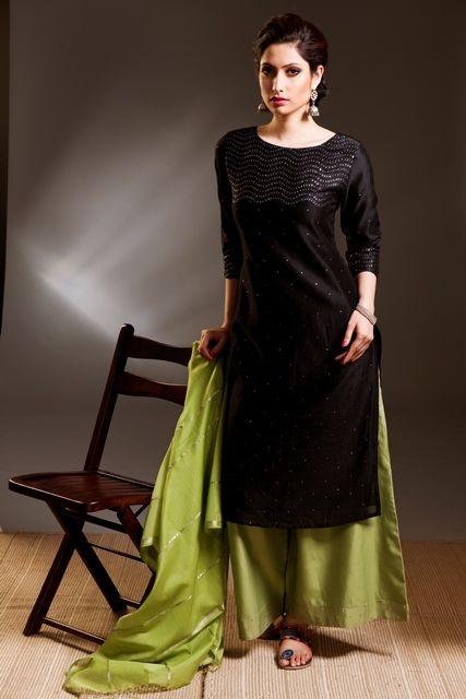 503967d5f6 #festive #olive green #black #sequin #silk #occasion #stepout #dressy # palazzo #kurta #women #fashion #Fabindia