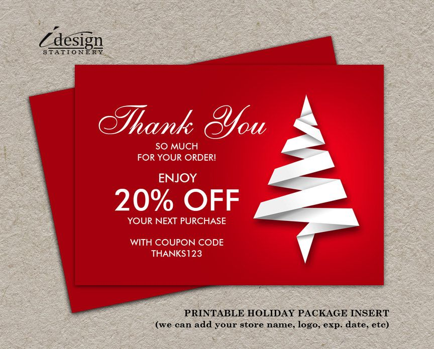 Thank You For Your Order Or Purchase Christmas Shipping Insert ...
