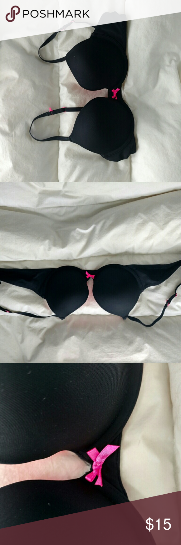 Simple black push up bra Push up bra black outside hot pink inside and bow. Push up one cup size, comfortable and slightly worn but still in good shape. Hand washed Xhilaration Intimates & Sleepwear Bras