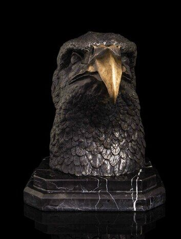 p6991 10 Western Art Sculpture Bronze Copper Marble Eagle Hawk Head Statue Figurine