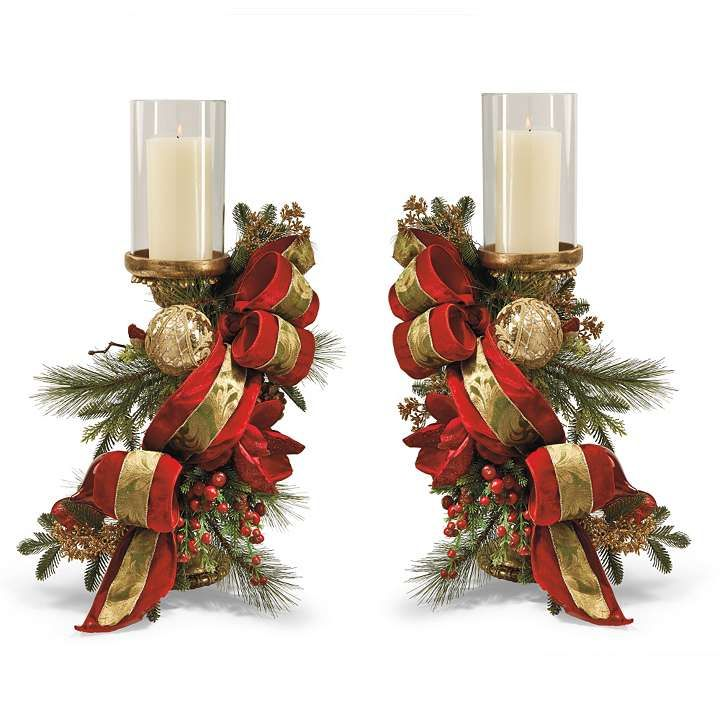Set of two christmas joy decorated candle holders from for How to make christmas candle holders