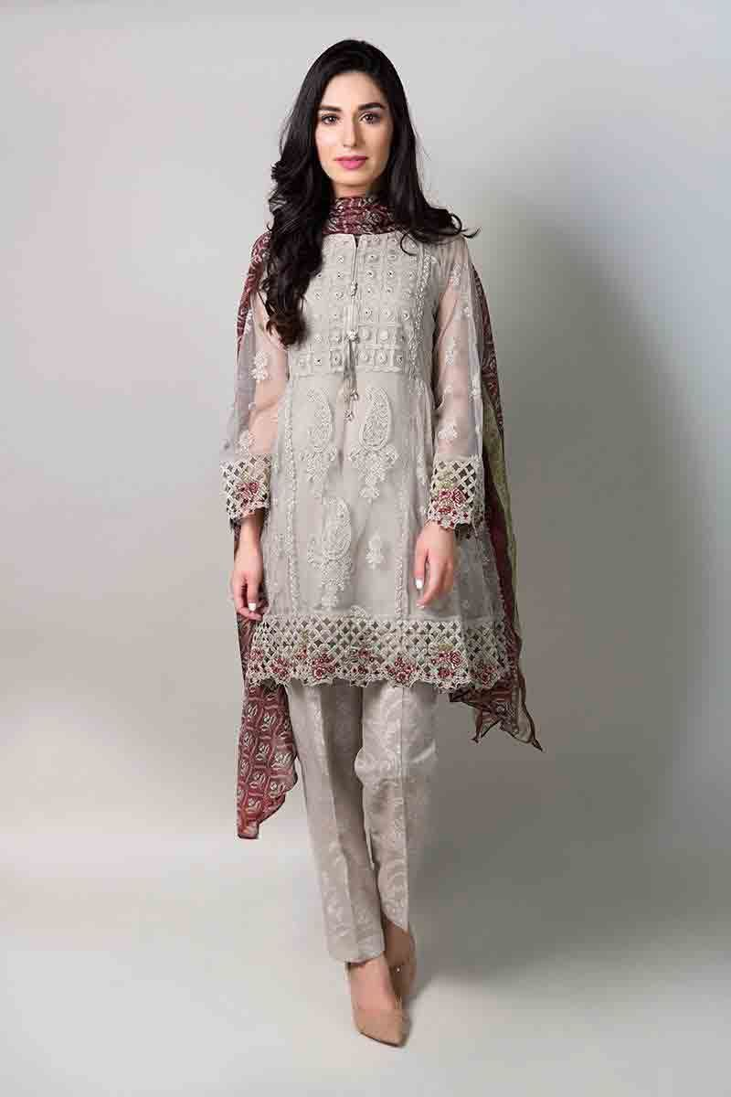 169bc18a4bd Gray net short shirt with matching dupatta and pants latest maria b fancy  party wear eid dresses 2017 with price for girls