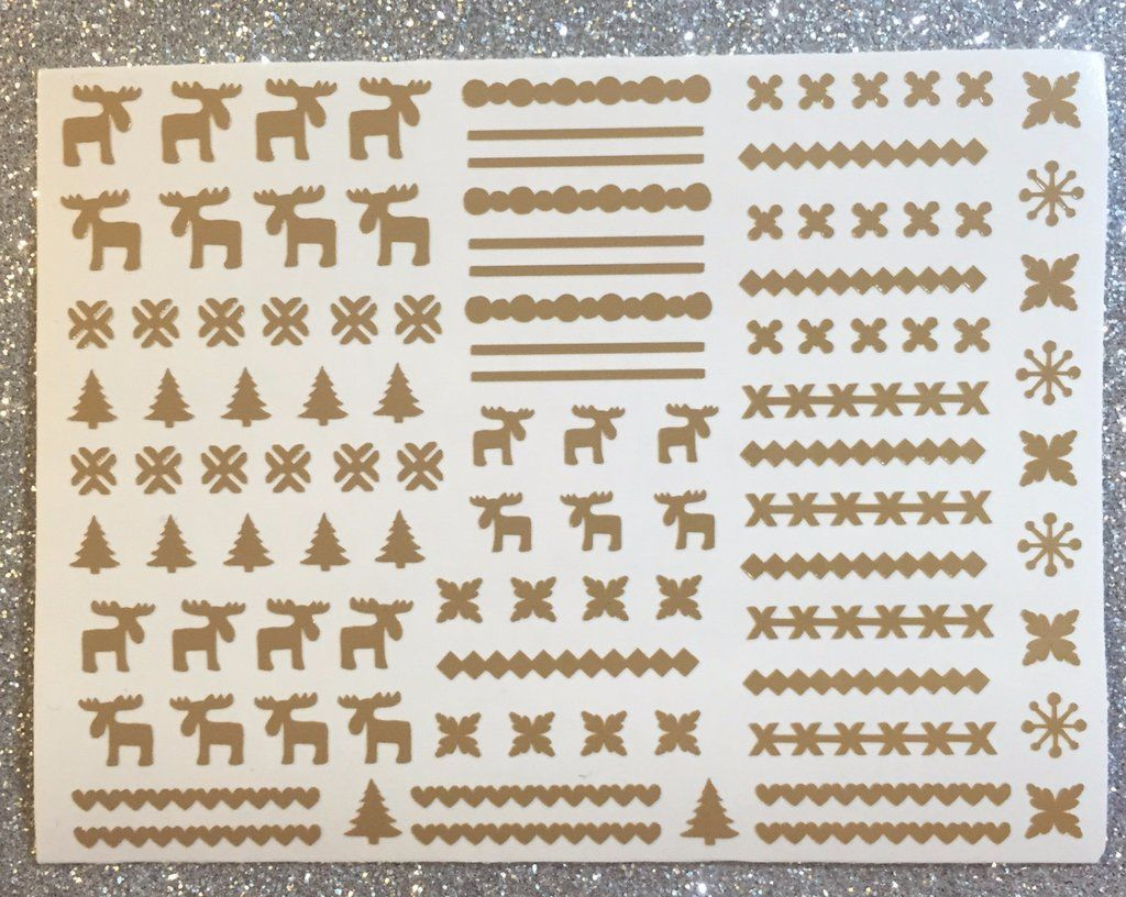 Tan   Ugly Sweater MOOSE   Nail Decals   Ugly Sweater Nails ...