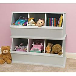 Genial Three Bin Stackable Storage Cubby In White $70.99