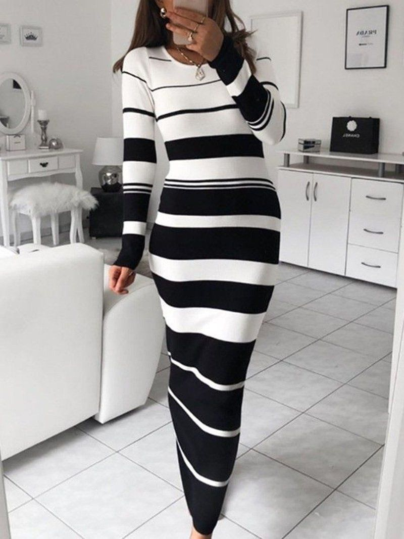 Ankle Length Long Sleeve Round Neck Bodycon Regular Dress Striped Long Sleeve Bodycon Dress Long Sleeve Stripe Maxi Dress Fashion [ 1067 x 800 Pixel ]