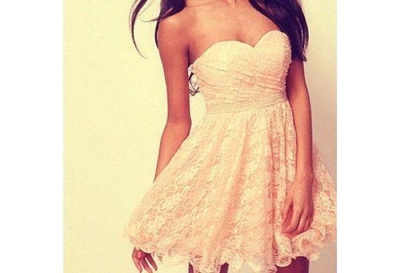 Sweetheart Strapless Chiffon Skirt Short Lovely by fairydress, $79.00